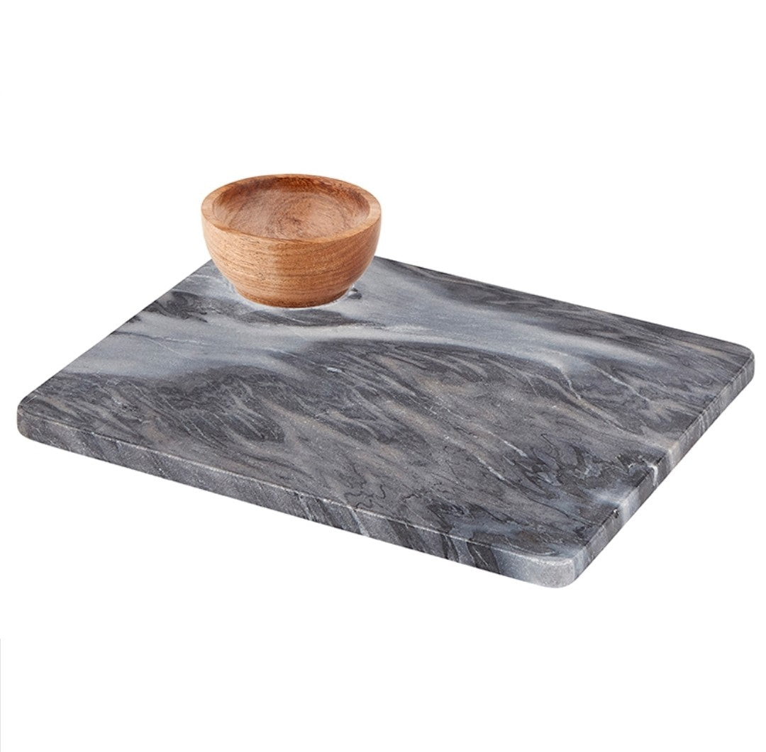 Large Marble Tray with Wooden Bowl - Gray