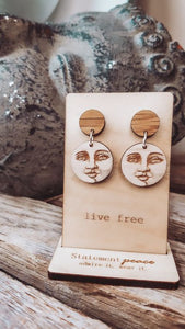 Statement Peace Man in the Moon Stud Dangles