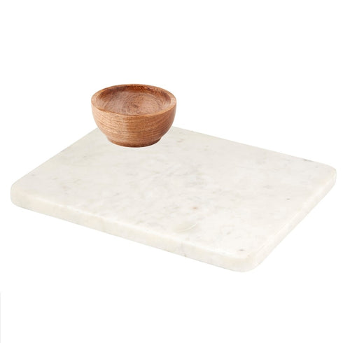 Large Marble Tray with Wooden Bowl - White