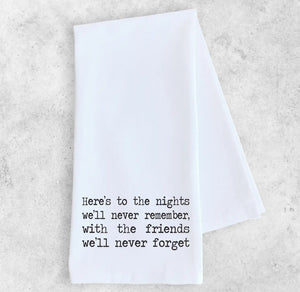 Cotton Tea Towel - Here's to the Nights