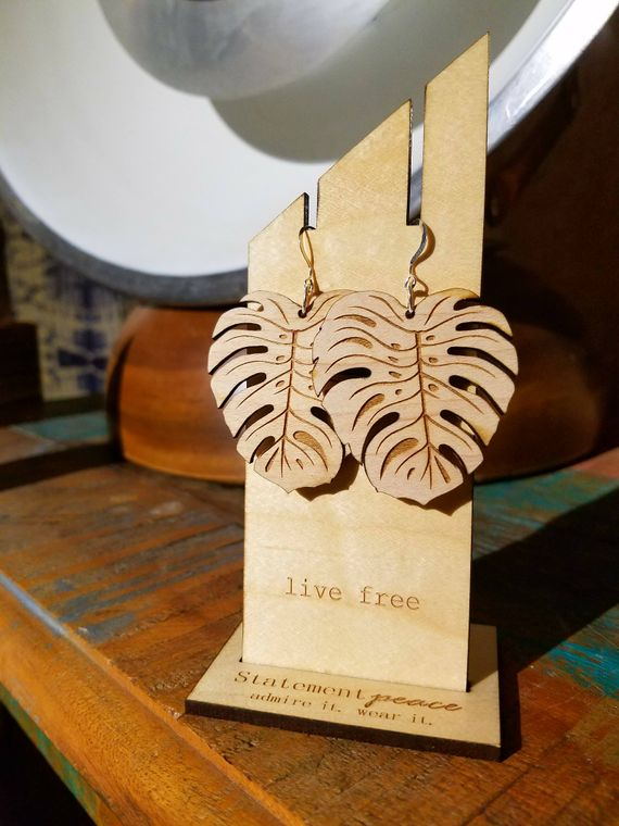 Statement Peace Boho Plant Vibe Dangle Earrings