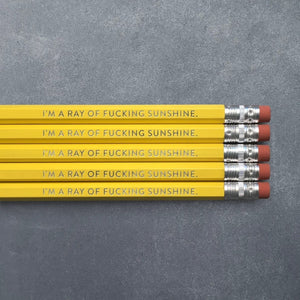 Foil Stamped Pencil Set - I'm a Ray of Fucking Sunshine