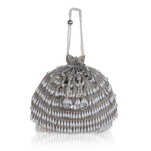 Silver Potli Bag - White Pearls Magic
