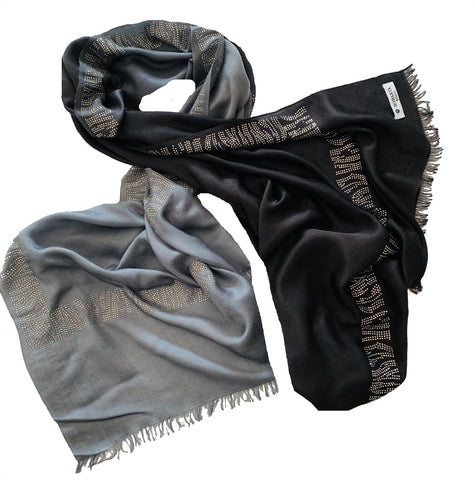 cashmere scarf with swarovski crystals