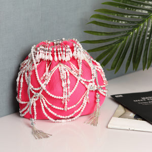Pink Potli Bag, Embellished with Pearls