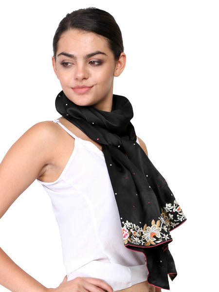 parsi embroidery border on black stole