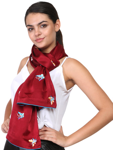 Maroon Rainbow Butterfly Parsi Hand Embroidery Stole