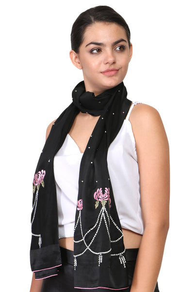 Sprouting Lotus Parsi Embroidery Stole