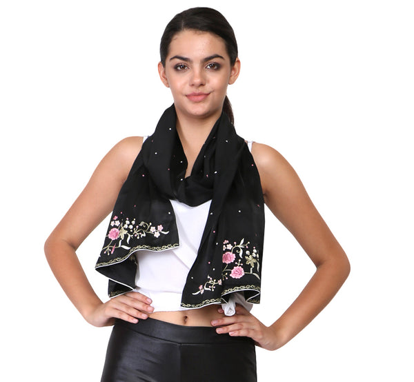 parsi gara work on black scarves and stoles