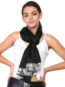 parsi hand embroidery border on black scarf