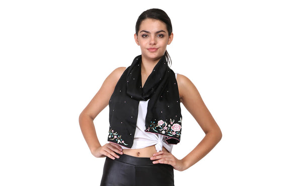 parsi gara work on black scarf