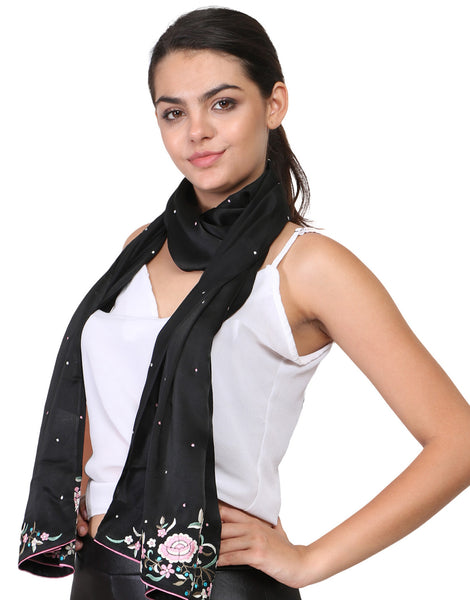parsi embroidery gara work on black scarf
