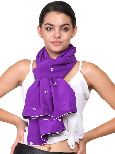 Purple scarf with parsi embroidery motifs