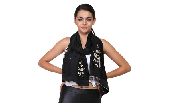 parsi gara embroidery on black stole