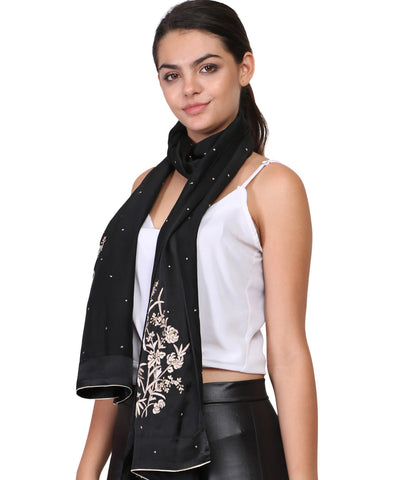 Black scarf with parsi hand embroidery work