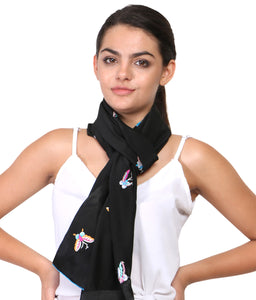 Hand Embroidered Scarf butterflies in parsi embroidery