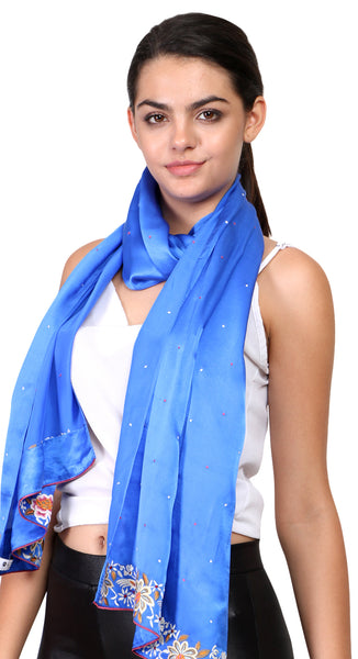 silk scarf with hand embroidery parsi work border