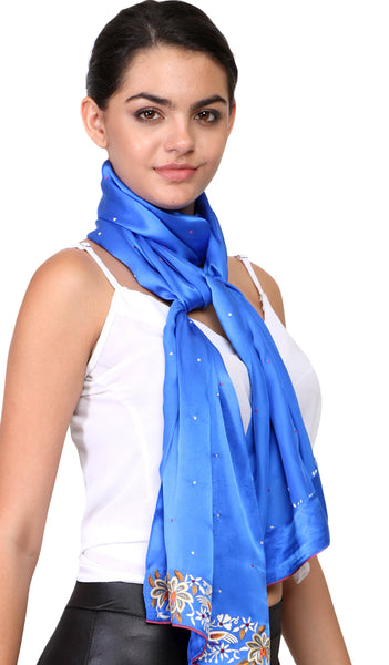 parsi work border embroidery on silk scarf