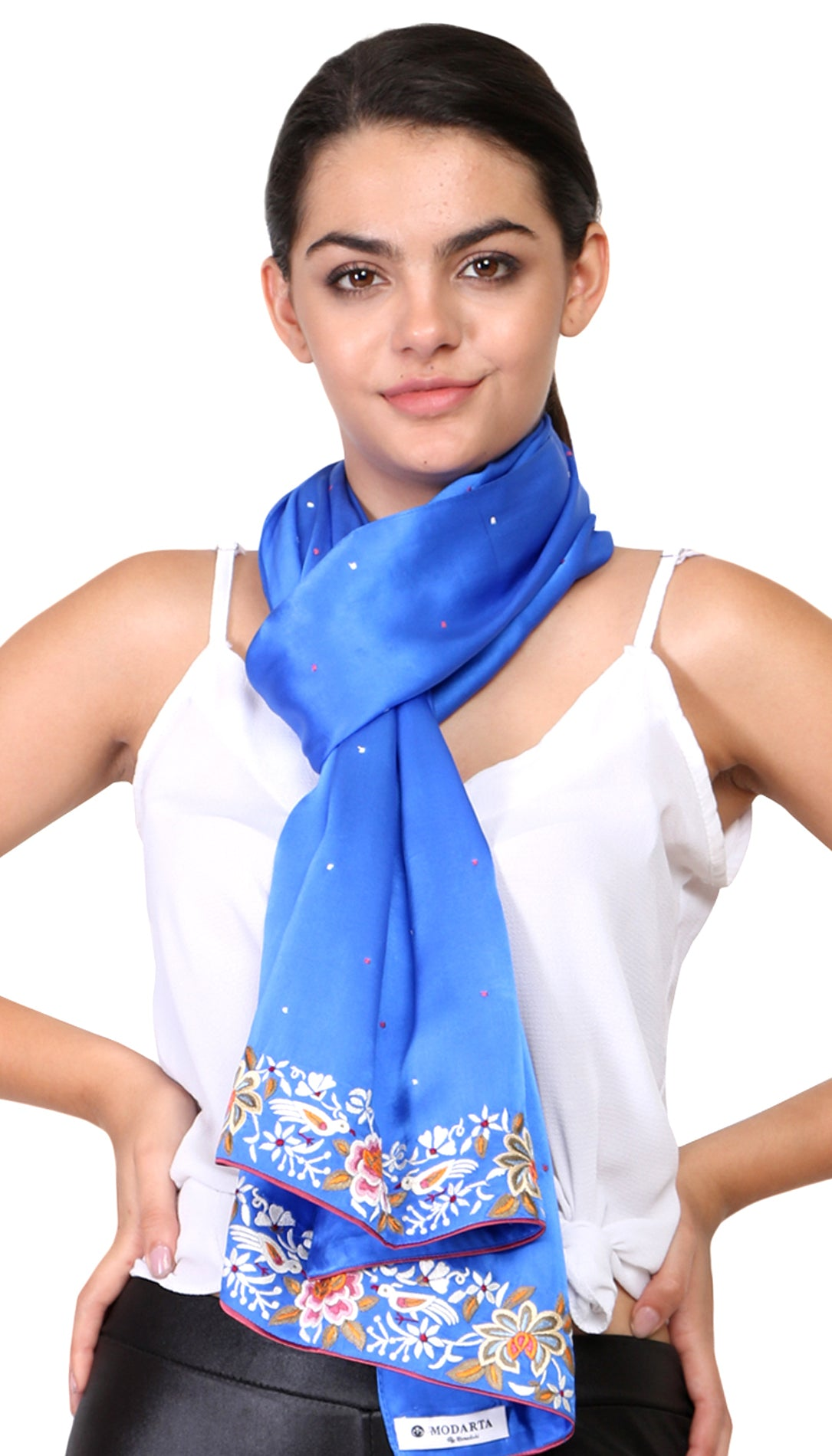 Blue Silk Stole with parsi embroidery
