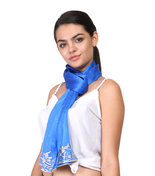 blue scarf with parsi hand embroidery border