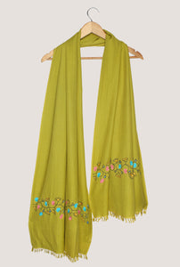 Green Pashmina Stole with Hand Embroidered floral design