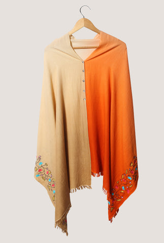 Pashmina Poncho , Ombre & hand embroidered