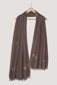 Hand Embroidered Grey Stole Semi Pashmina Shawl Stole