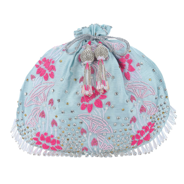 sky blue potli bag , wedding potli bag