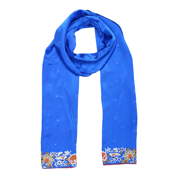 Blue scarf with parsi border