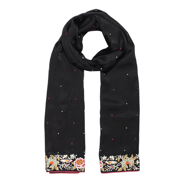 black scarf with parsi embroidery