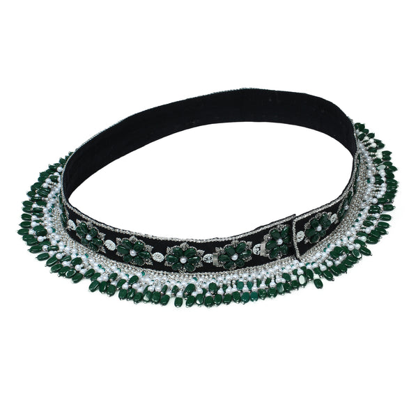 Emerald Saree Waist Belt , Hand Embroidered & handcrafted