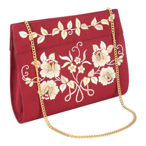 Red Rose Island Parsi Embroidery Purse