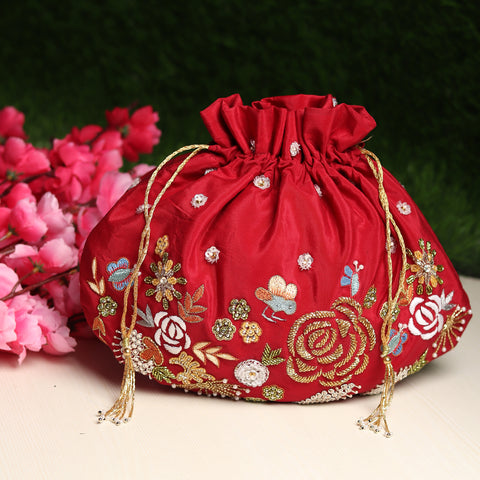 red potli bag , potli bags for lehenga, purse for bride