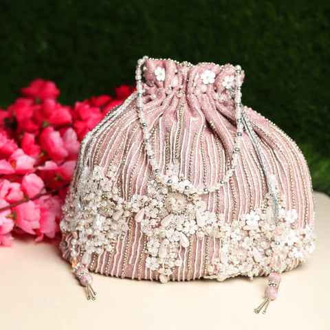 Bridal Potli Bag , Pink Potli Bag with pearls and swarovski crystals
