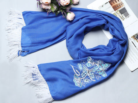 Royal Blue Pure Pashmina 100% Cashmere Stole with White Butterflies & Feathers
