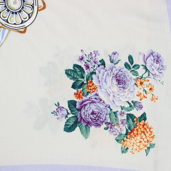 Purple White Floral Scarf
