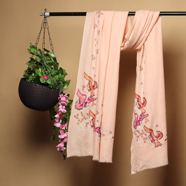 Light Peach Pink Pure Pashmina Shawls Online,  hand embroidery, bird design
