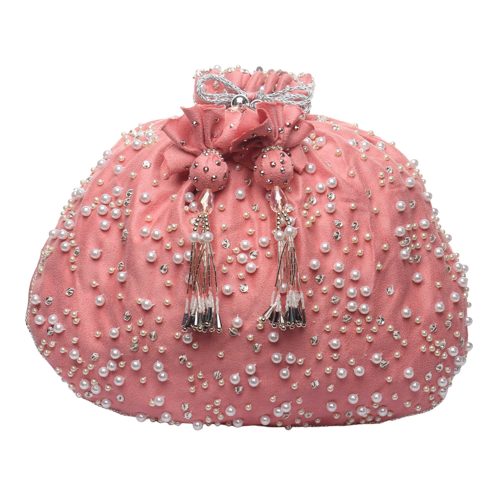 Pink Potli Bag with pearls and swrovksi crystals