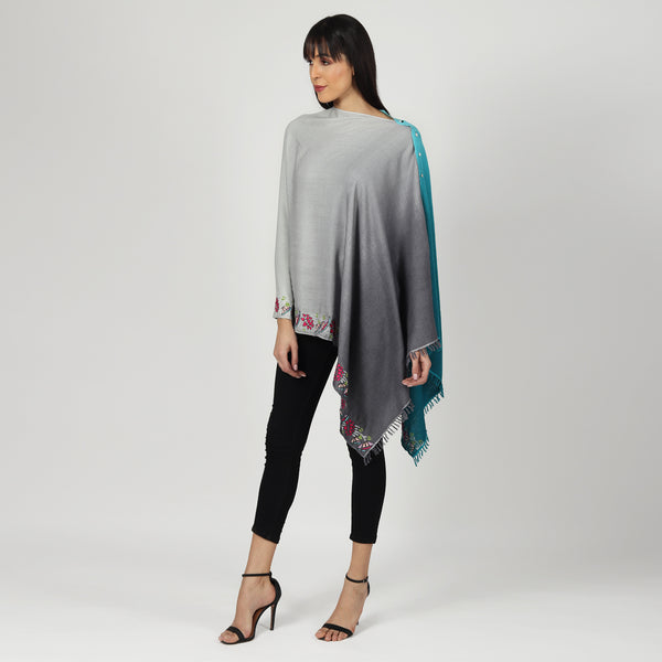 Blue Grey Pashmina Poncho & Stole , Ombre & hand embroidered
