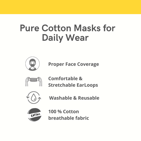Pure Cotton Face Mask Online, Pack of 3