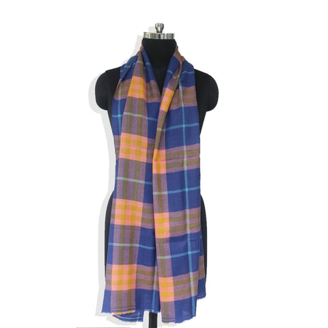 Navy Blue Checks Cashmere Blend Stole