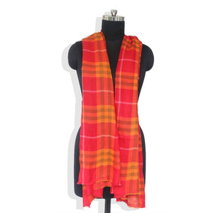 Red Checks Cashmere Blend Stole