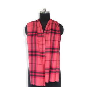 Raspberry Checks Print Cashmere Stole