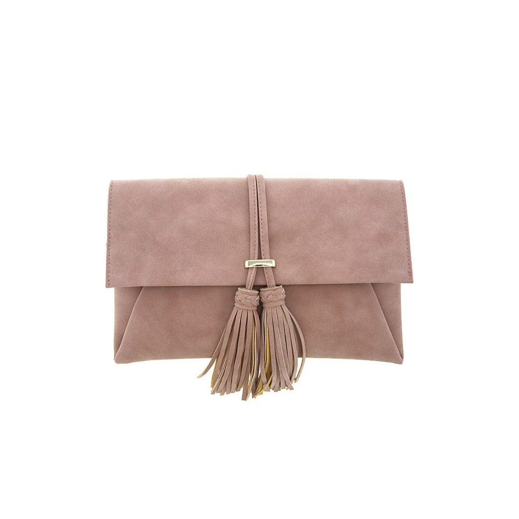 Pink Textured Leather Clutch - Green Mango