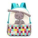 Cute Rabbit Plaid Wear-proof Canvas Schoolbag for Toddlers - Green Mango