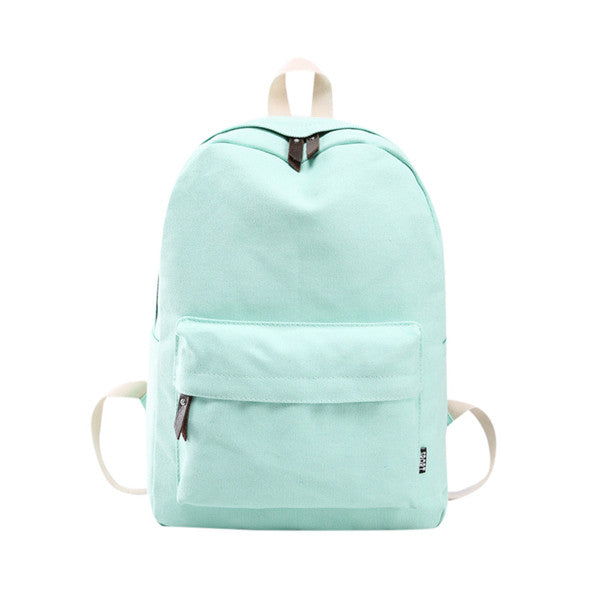 Simple Solid Color Kids School Backpack - Green Mango