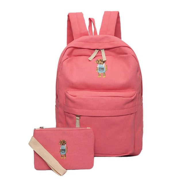 Rucksack Canvas School Backpack for Kids - Green Mango