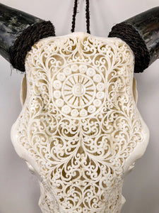 Carved Cow Skull - Sanskrit Mandala Carving