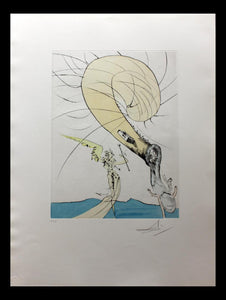 "Salvador Dali- Hand Colored Original Etching ""Freud a Tete d'Escargot"" with certificate (free delivery in EU)"
