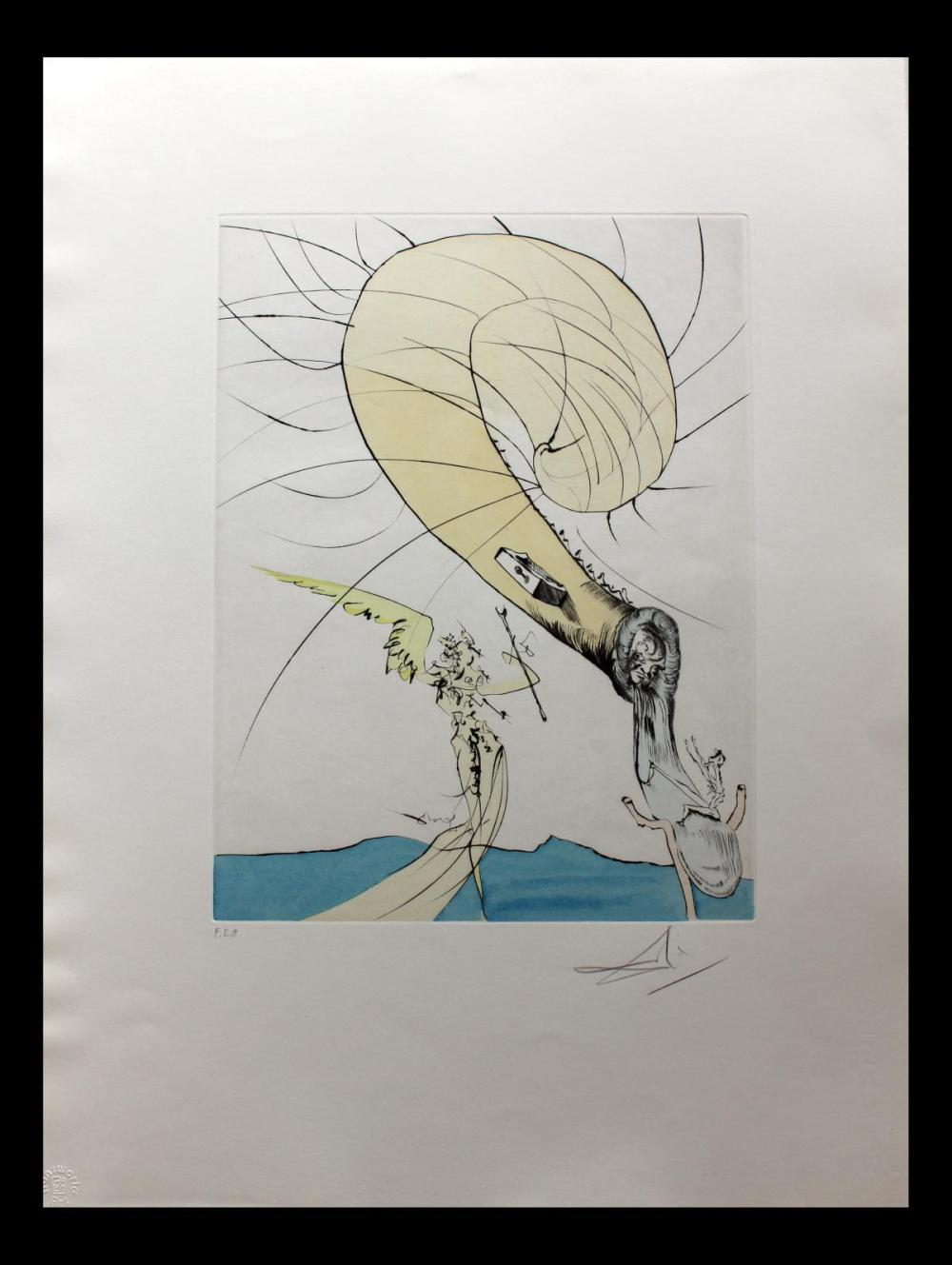 Salvador Dali- Hand Colored Original Etching